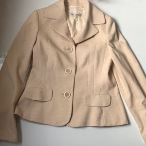 Escada cream silver metallic blazer size 34
